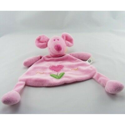 Doudou plat souris rose coeur CP INTERNATIONAL - Souris - Rat Plat / Semi plat
