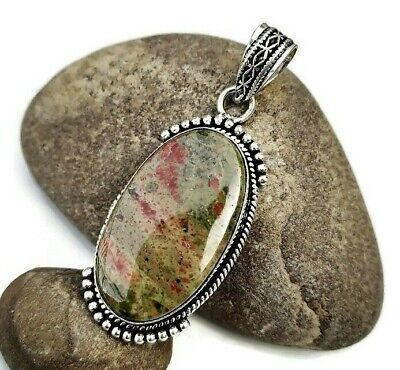 Handmade !! Natural Green Unakite .925 Gemstone Sterling Silver Plated Pendant