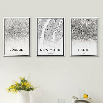 World City Map Canvas Print Painting Abstract Wall Picture Home Decor Unframed