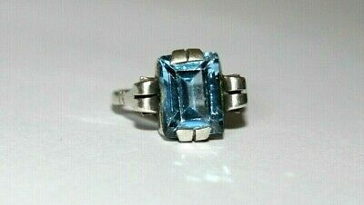 Genuine Antique Art Deco Sterling Silver Ring With Large Pale Blue Gemstone.sz N