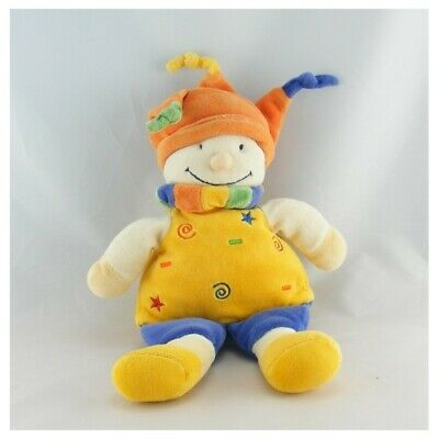 Doudou lutin clown jaune bleu orange NICOTOY - Clown Classique