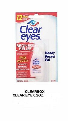 6 PACK CLEAR EYES EYE DROPS REDNESS RELIEF 12 HOURS --0.2oz