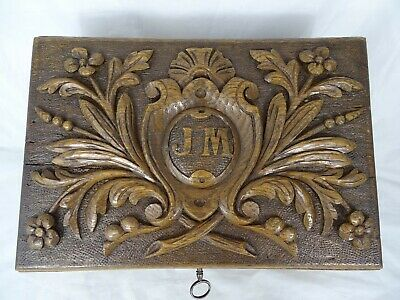 Antique Black Forest Large Carved Wood  Trinket Box Monogram JM 1926 - with key