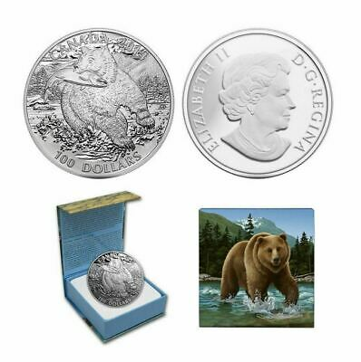 2014 Canada Monnaie Royale $100 Grizzly Bear Matte Proof Silver Coin w/ OGP Box