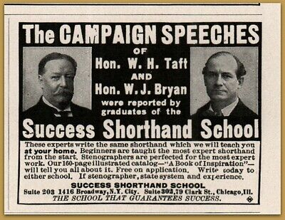 1909 D Success Shorthand School Speeches Taft Bryan Print Ad Less Expensive Advertising