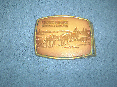 VINTAGE 1970s WORK HORSE CHEWING TOBACCO BRASS LEATHER BELT BUCKLE