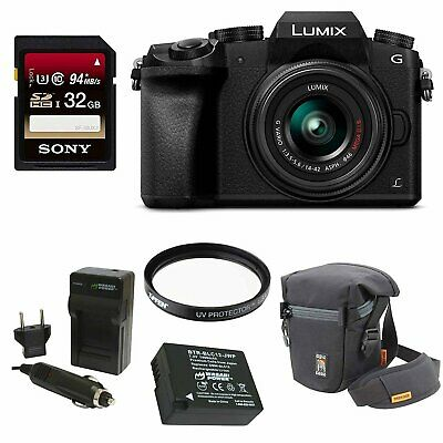 Panasonic LUMIX G7 Camera with 14-42mm Lens + 32GB SDXC + Accessory Bag Bundle