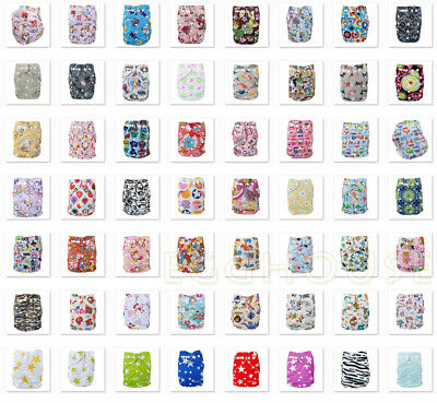 Lots 10 PCS Baby Cloth Diapers Pocket Nappies One Size Covers and 10 PCS inserts