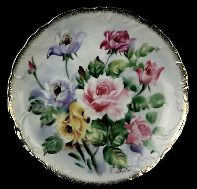 Vintage Norleans Japan Porcelain Hand Painted Roses Plate Signed T.Shiba  8-1/4""