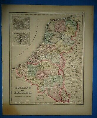 Vintage 1857 HOLLAND - BELGIUM MAP Old Antique Original Atlas Map