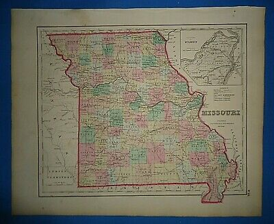 Vintage 1857 MISSOURI MAP Old Antique Original Atlas Map