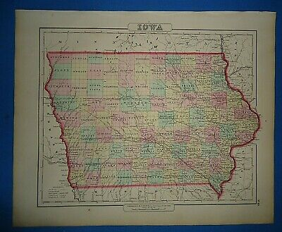 Vintage 1857 IOWA MAP Old Antique Original Atlas Map