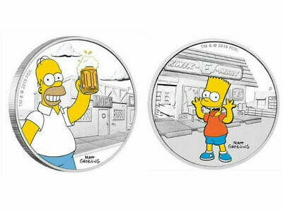 2019 The Simpsons - Homer & Bart 1oz Silver Proof Coin - Perth Mint
