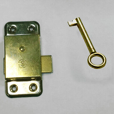 "3"" 75mm 3 Inch Brass Door Lock & Key For Wardrobes, Cupboards Cabinets Drawers"