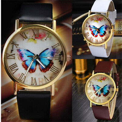 Womens Ladies Butterfly Watches Leather Strap Casual Analog Quartz Wrist Watch