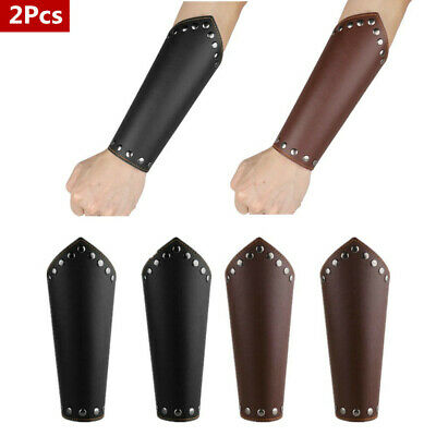 2Pcs Mens Faux Leather Gauntlet Wristband Arm Guards Knight Bracers Props New HQ