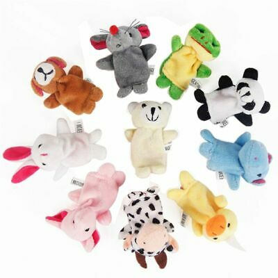 10Pcs Cartoon Animal Finger Puppets Set Mini Plush Baby Hand Cloth Doll Toys