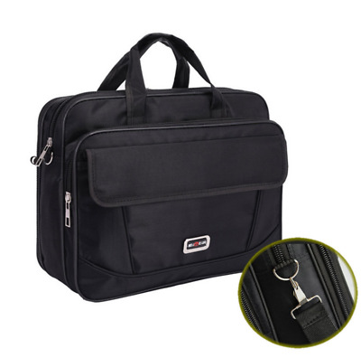 New Mens Black Oxford Briefcases Office Bag Laptop Crossbody Travel Bag