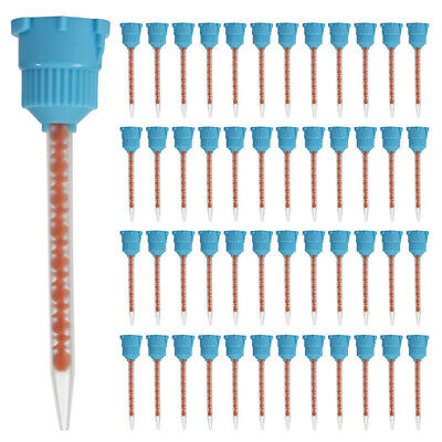 50pcs Disposable Dental Impression Mixing Tips Tube Blue Orange 10:1 Practical