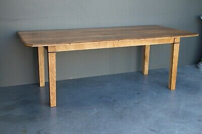 Large antique blonde oak French Provincial refectory dining table fully restored