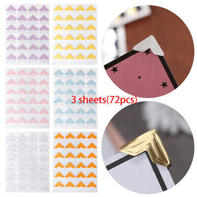72pcs Photo Corner Protectors Picture Frame Stickers Scrapbooking Album Vintage