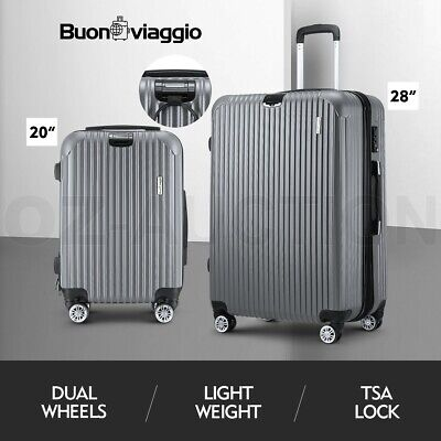 2PCS Luggage Suitcase Trolley Set TSA Hard Case Travel Storage Organiser Grey