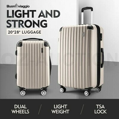 2PCS Luggage Suitcase Trolley Set TSA Hard Case Organiser Travel Storage Bag