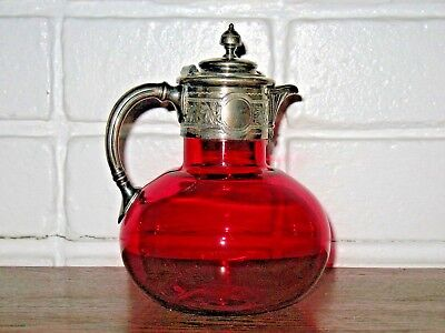 Victorian Cranberry Glass Decanter Applied Silver Top Cir. 1870s Nice Antique