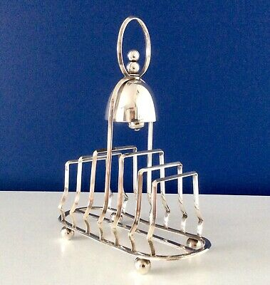 Rare WILLIAM BRIGGS & Co Antique Silver Plated ToastRack With Servant Bell C1870