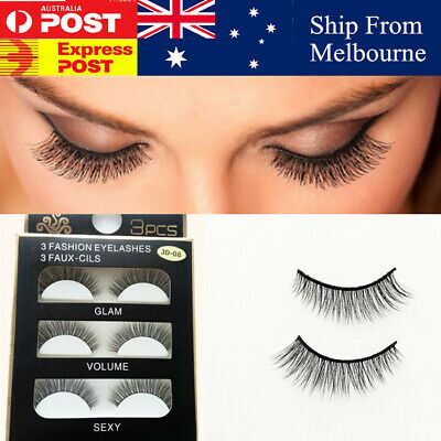 3D  Natural Makeup Hair Cross Long Thick Eye Lashes False Eyelashes Au