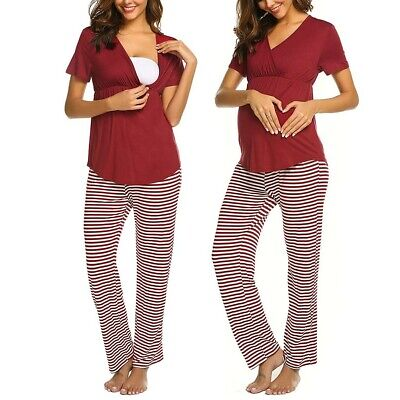 Women Maternity V-neck Nursing Baby T-shirt Tops+Stripe Pants Pajamas Set CC
