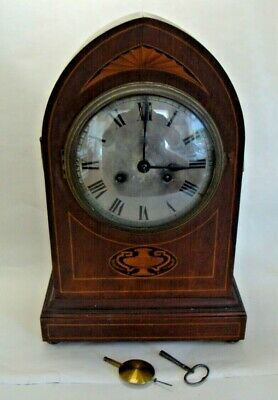 George III style mahogany bracket clock silvered dial by Haas & Sohne circa 1900