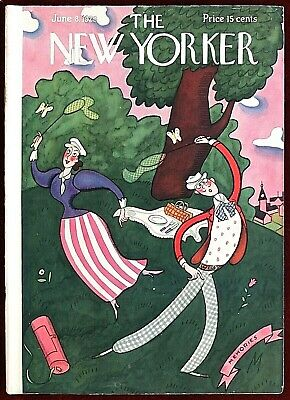 The New Yorker Magazine ~ June 8, 1929 ~ De Miskey Couple Chasing Butterflies