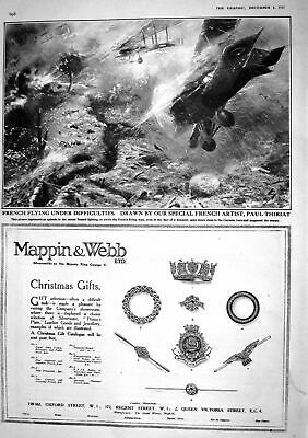 Antique Print 1917 French War Aeroplanes Germany Mappin Webb Christmas Gift
