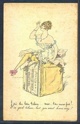 NS084 ART NOUVEAU RISQUE EROTIC FEMME LADY LINGERIE sitting on a PACK of TOBACCO