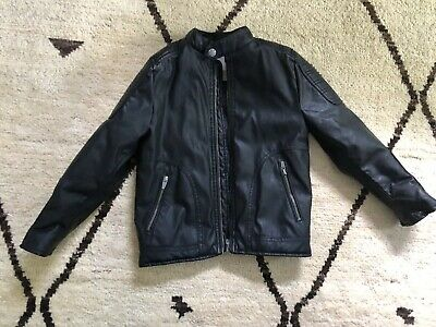 6511565c ZARA Boys Kids Black Faux Leather Full Zip Lining Jacket 7 Years 122 Cm