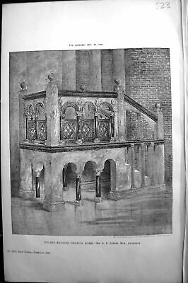 Antique Old Print Pulpit English Church Rome Street Builder 1891 Architecture