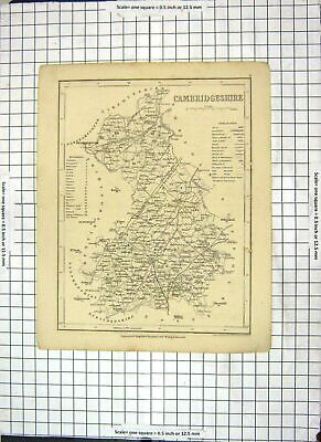 Antique Old Print Dugdales Map Cambridgeshire England Wisbeach Peterborough