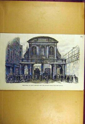 Old Antique Print 1877 Temple-Bar City-Front Sketch Architecture Building 19th
