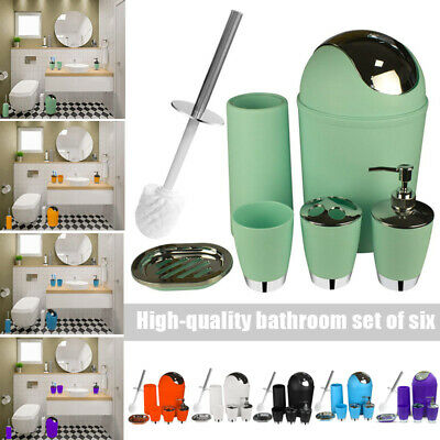 6pcs Bathroom Accessories Set Bath Toilet Brush Can Toothbrush Holder Soap Cup