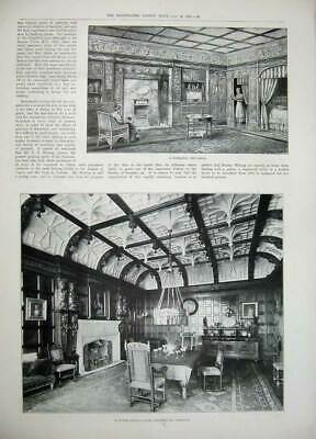 Original Old Antique Print 1897 Messrs Waring'S House Sheraton Bed-Room Tudor