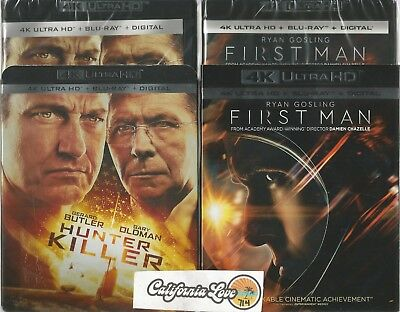 Hunter Killer + First Man 4K Ultra Hd + Blu-Ray 4-Disc Combo ✔☆Mint☆✔ No Digital