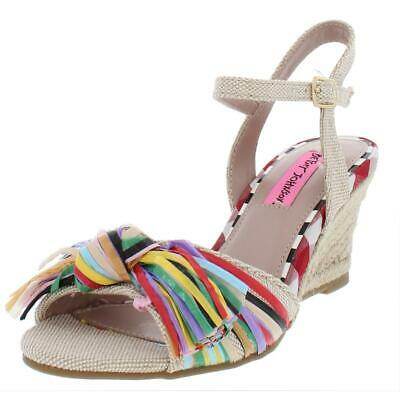 b1ee590c6eb BETSEY JOHNSON WOMENS Lizzie Canvas Espadrille Wedge Sandals Shoes ...