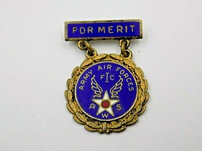 WWII AWS US ARMY AIR FORCE FOR MERIT STERLING PIN Norsio Co.