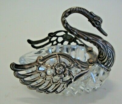 925 silver and cut glass table mustard pot in the form of a swan