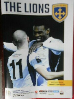 GUISELEY v STOCKPORT COUNTY,9.2.2019. Programme and Teamsheet