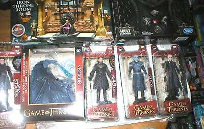 Game Of Thrones Lot- 5 Figures, Monopoly, Iron Throne Building Set, All Unopened