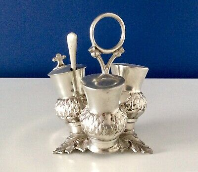 Superb JAMES DIXON & SONS Silver Plated SCOTTISH THISTLE Footed Cruet Set C1920