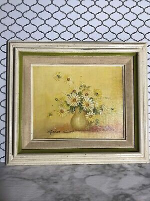 Robert Cox - Vintage Floral Oil on Board Painting --Framed -Yellow Roses