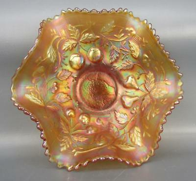 "Northwood FRUITS & FLOWERS Marigold Carnival Glass 6"" Berry Bowl 6049"